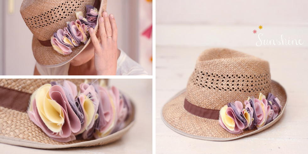 Chapeau panama customisé rose sucre